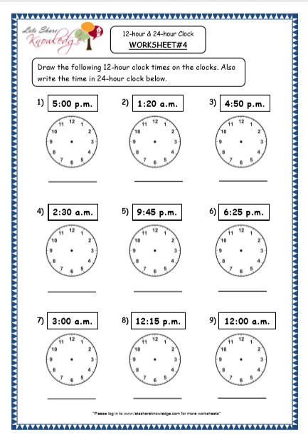 Grade  Maths Resources  Time
