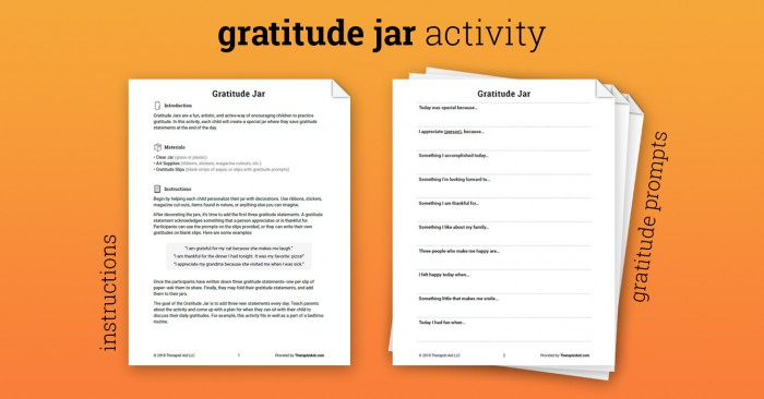 Gratitude Jar Activity Worksheet