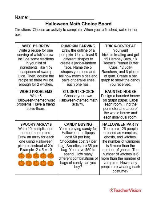 Halloween Math Choice Board