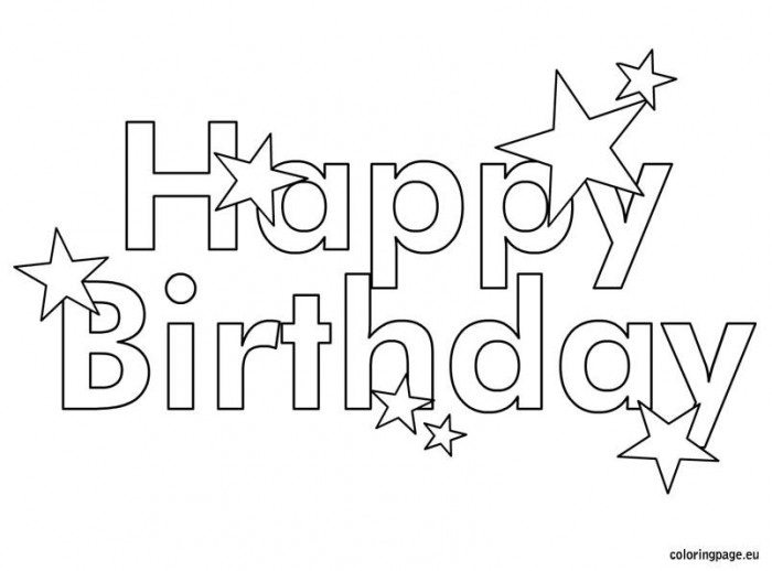 Happy Birthday Coloring Page With Images