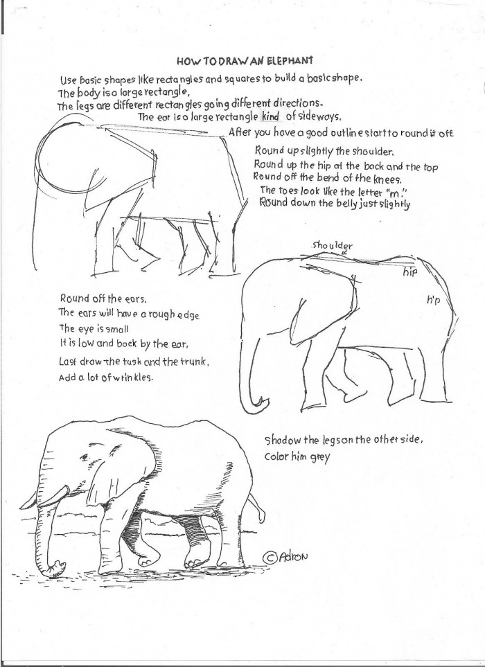 How To Draw An Elephant Easy Worksheet With Images