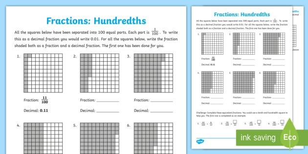 Hundredths Worksheet  Worksheet Teacher Made