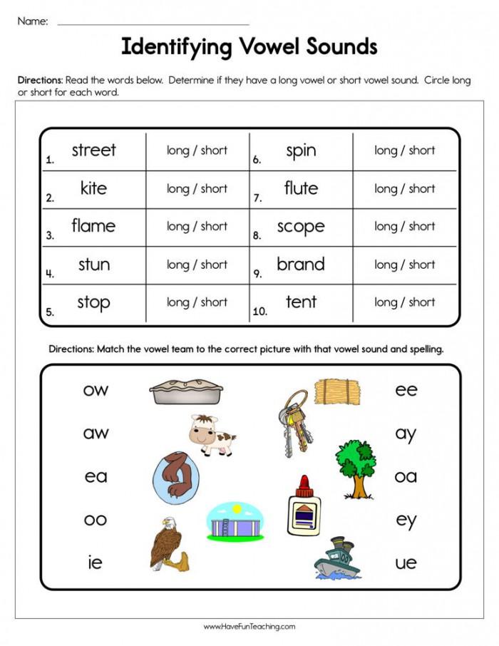 Identifying Vowel Sounds Worksheet  Have Fun Teaching