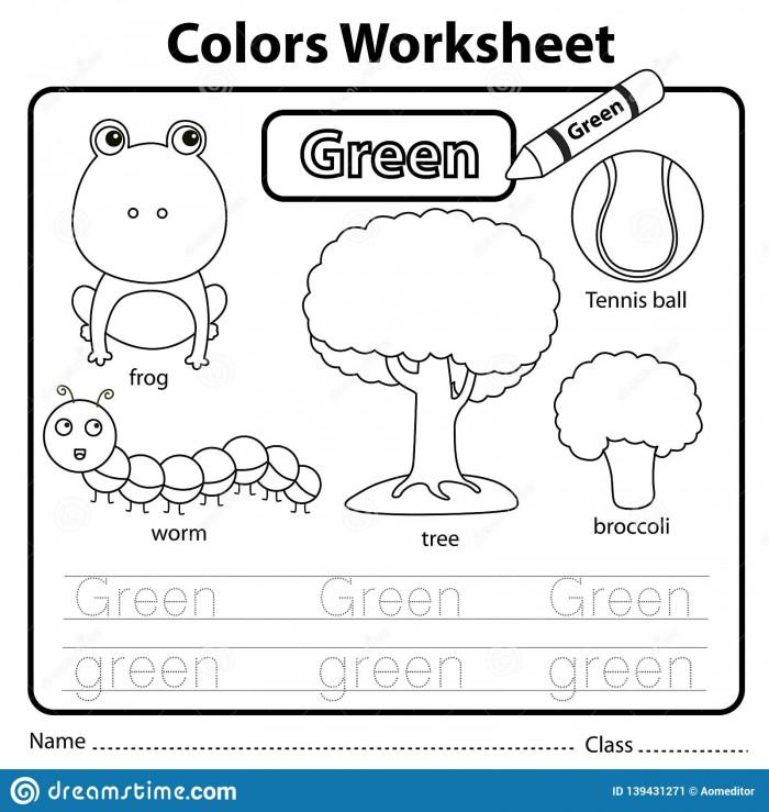Illustrator Of Color Worksheet Green Stock Vector