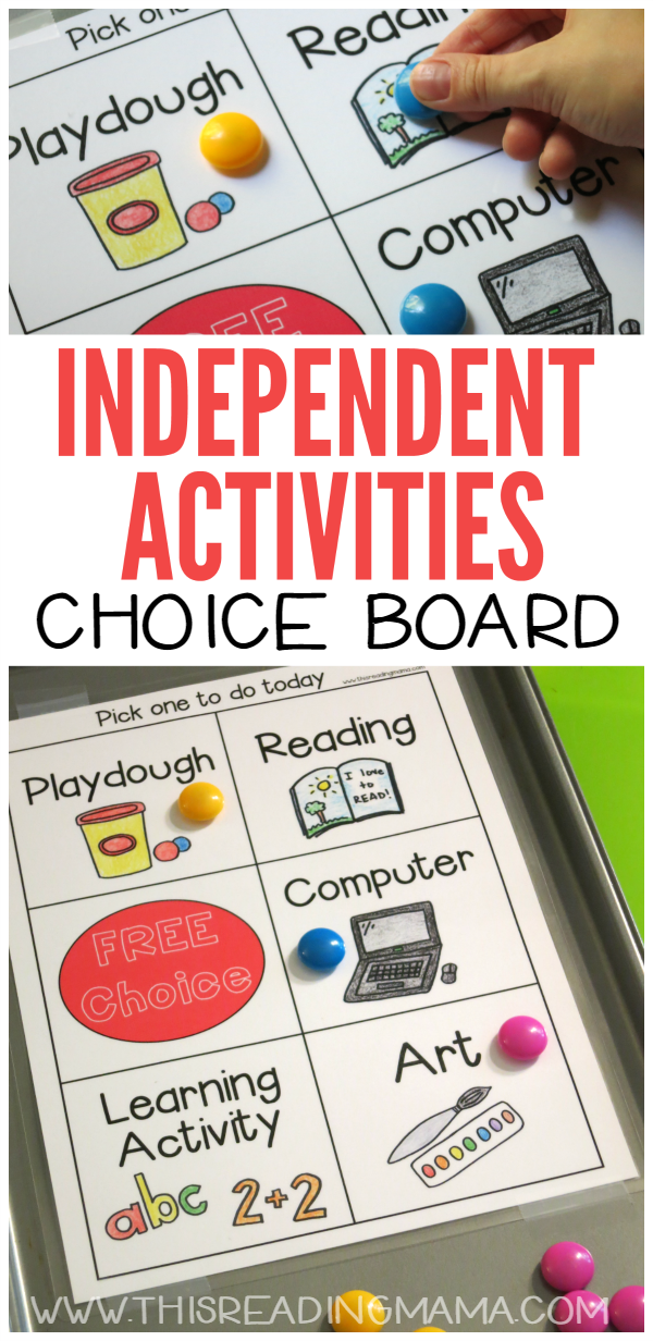 Independent Activities Choice Board Free