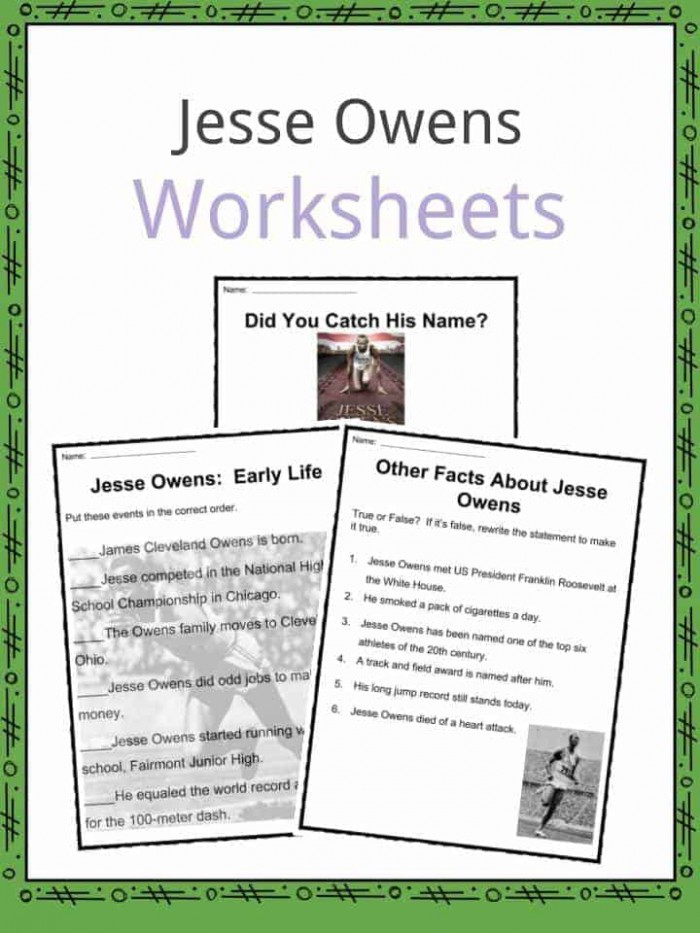 Jesse Owens Facts  Worksheets  Accomplishments   Biography For Kids