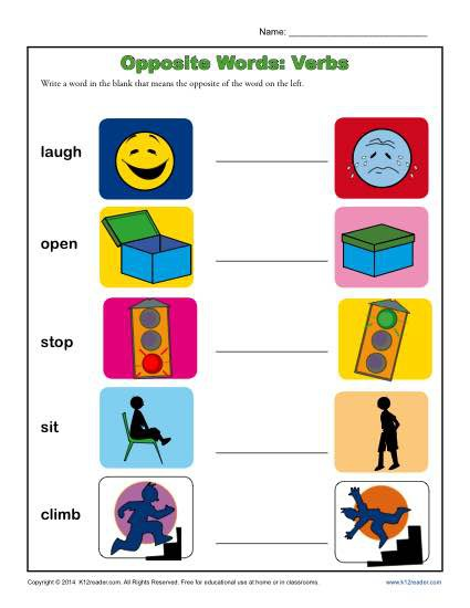 Kindergarten Antonym Worksheet