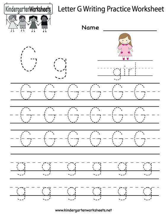 Kindergarten Letter G Writing Practice Worksheet Printable