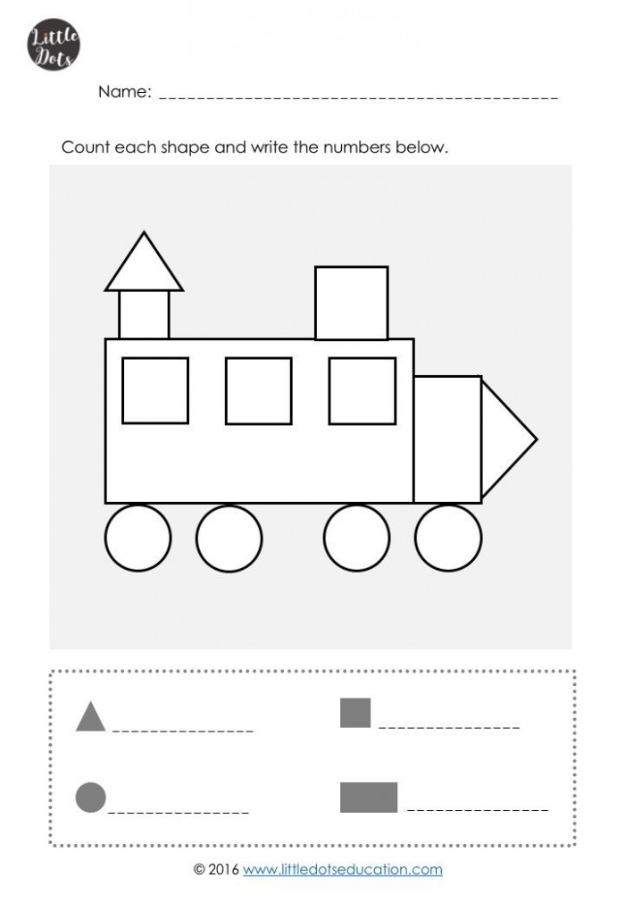 Count The Simple Shapes Worksheets | 99Worksheets