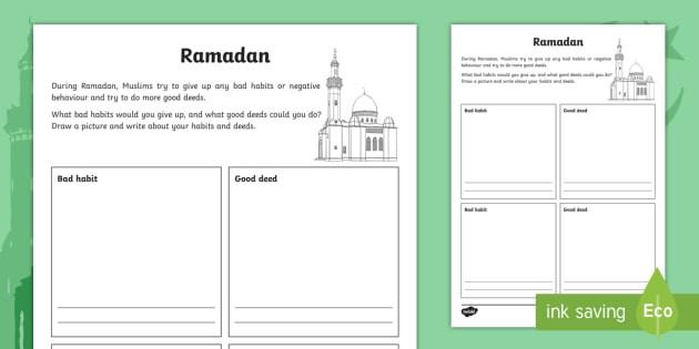 Ks Ramadan Good Deeds And Bad Habits Worksheet  Worksheet