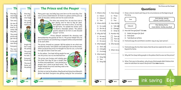 Ks The Prince And The Pauper Differentiated Reading Comprehension