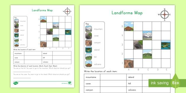 Landform Coordinates Grid Map Activity Teacher Made