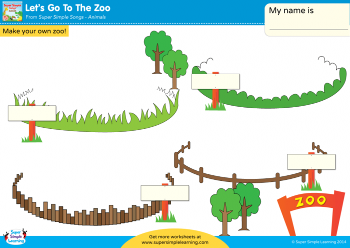 Lets Go To The Zoo Worksheet
