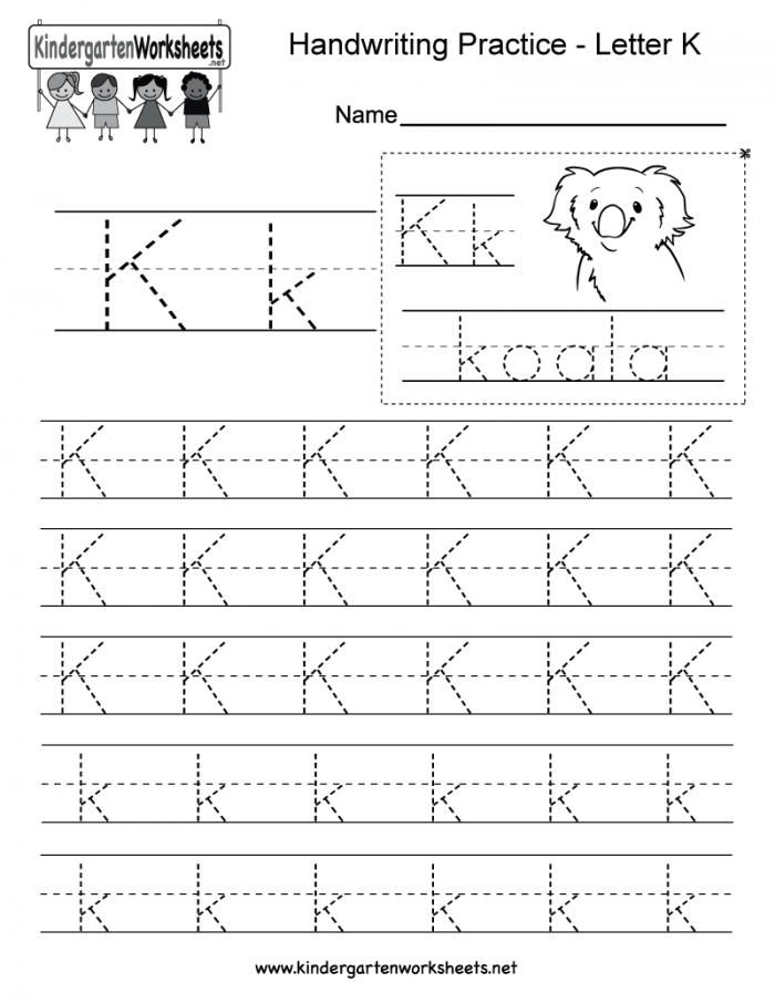 Letter K Writing Practice Worksheet This Series Of Handwriting Al