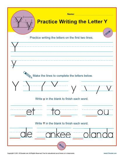 Letter Y Worksheets