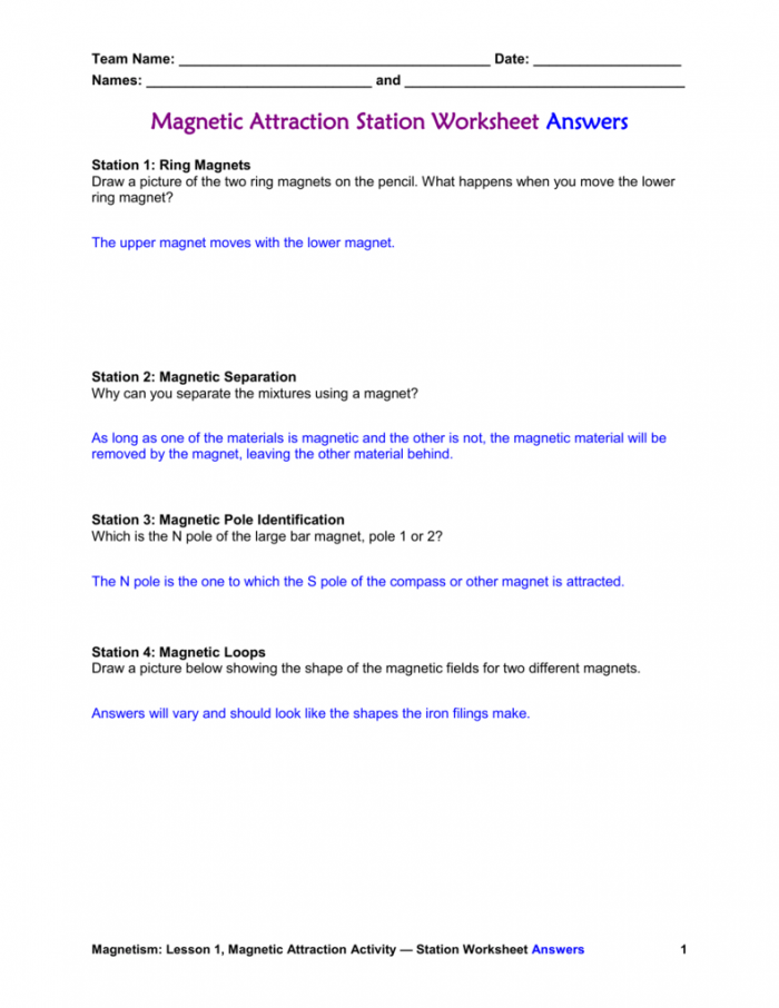 Magnetic Attraction Worksheet Answers