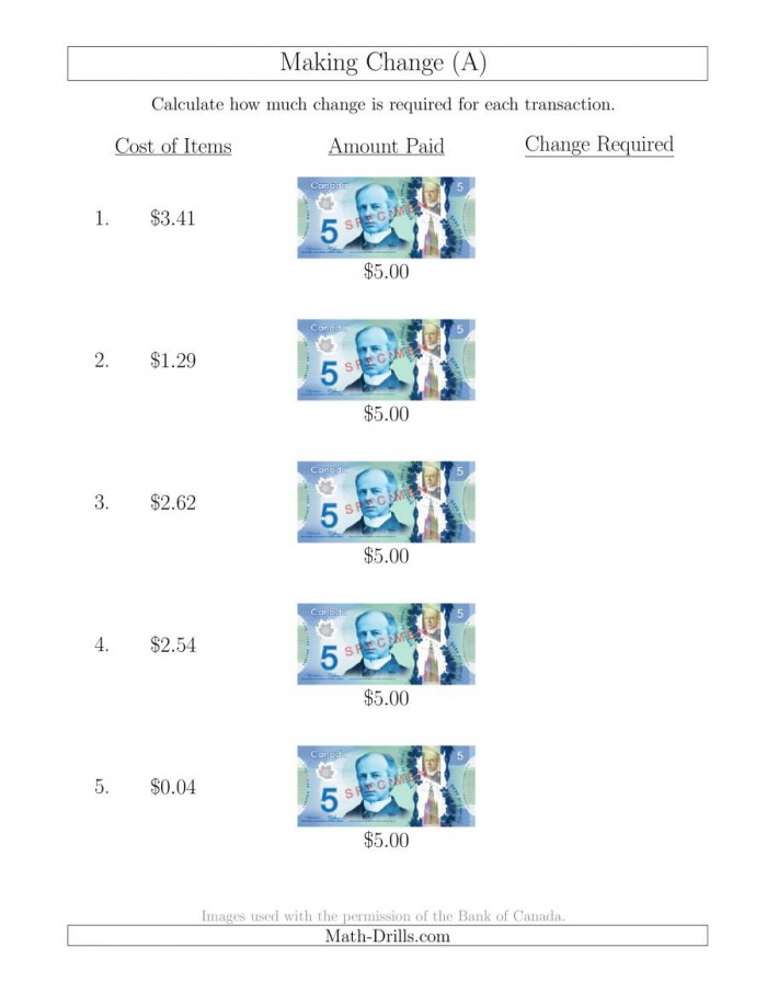 Making Change Math Worksheets   Money Worksheets