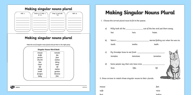 Making Singular Nouns Plural Worksheet  Worksheet Differentiated