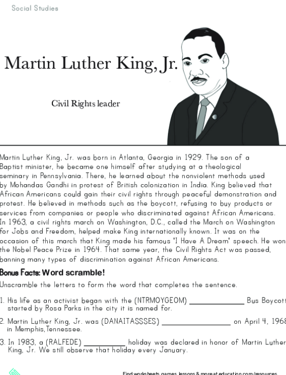 Martin Luther King, Jr. And His Dream Worksheets 99Worksheets