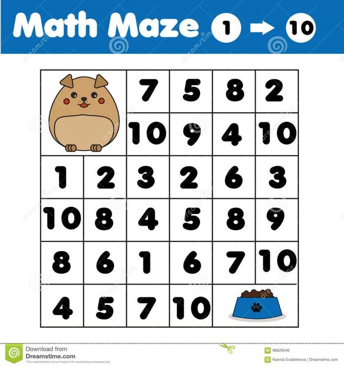 Maze Game  Animals Theme Kids Activity Sheet Mathematics