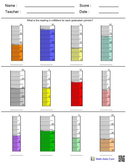 Measurement Graduated Cylinder Worksheet