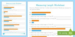 Measurement: Length In Centimeters