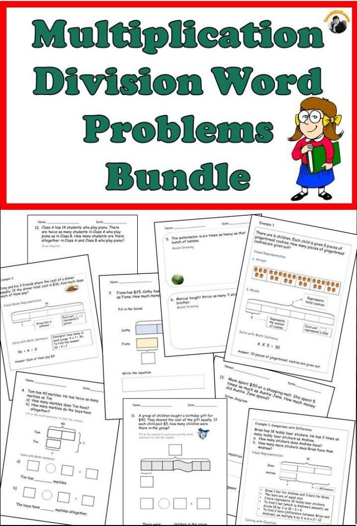 Multiplication Division Word Problems Worksheets Bundle Grade