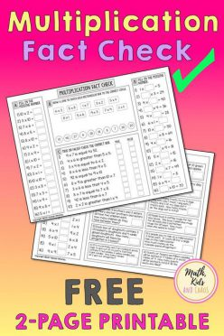 Multiplication Facts Check-Up