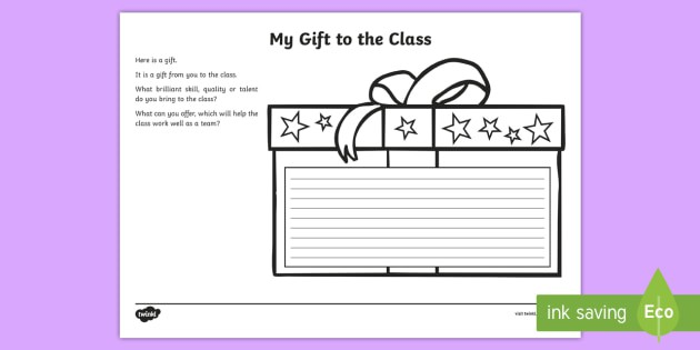 My Gift To The Class Worksheet