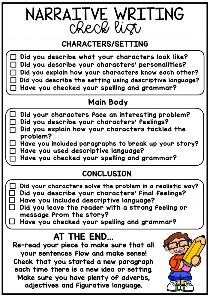 Narrative Writing Check-Up Worksheets 99Worksheets