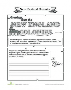 New England Colonies Postcard