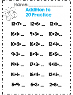 Spring Kindergarten Math Assessment: Addition Within 20