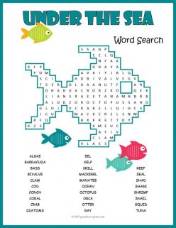 Habitats Word Search: Ocean Animals