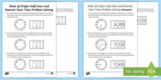 Nsw State Of Origin Half Hour And Quarter Hour Time Problem