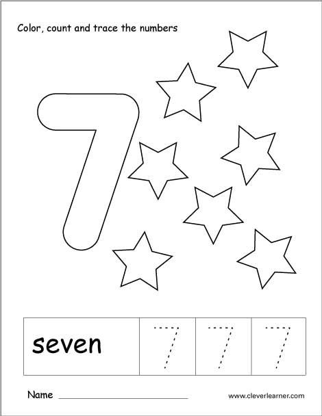 Number  Tracing And Colouring Worksheet For Kindergarten With