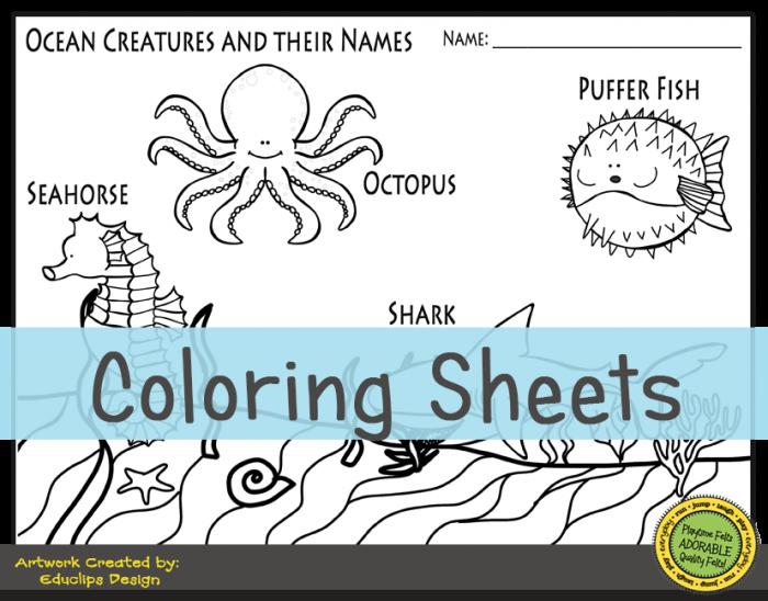 Ocean Creatures Preschool Worksheets