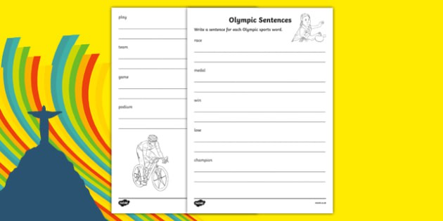 Olympic Sports Words Sentence Writing Worksheet  Worksheet  Worksheet