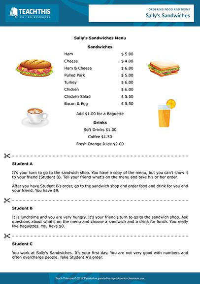 Ordering Food Drink Esl Restaurant Role