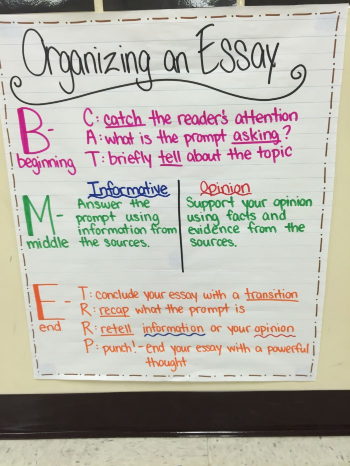 Organizing An Essay Anchor Chart Fsa Styled Writing For Th Grade