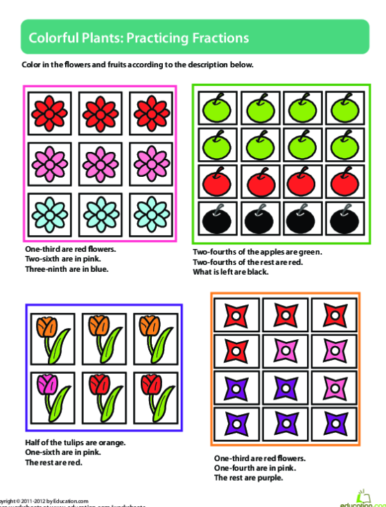 Fractions Of A Set: Spring Things Worksheets   99Worksheets