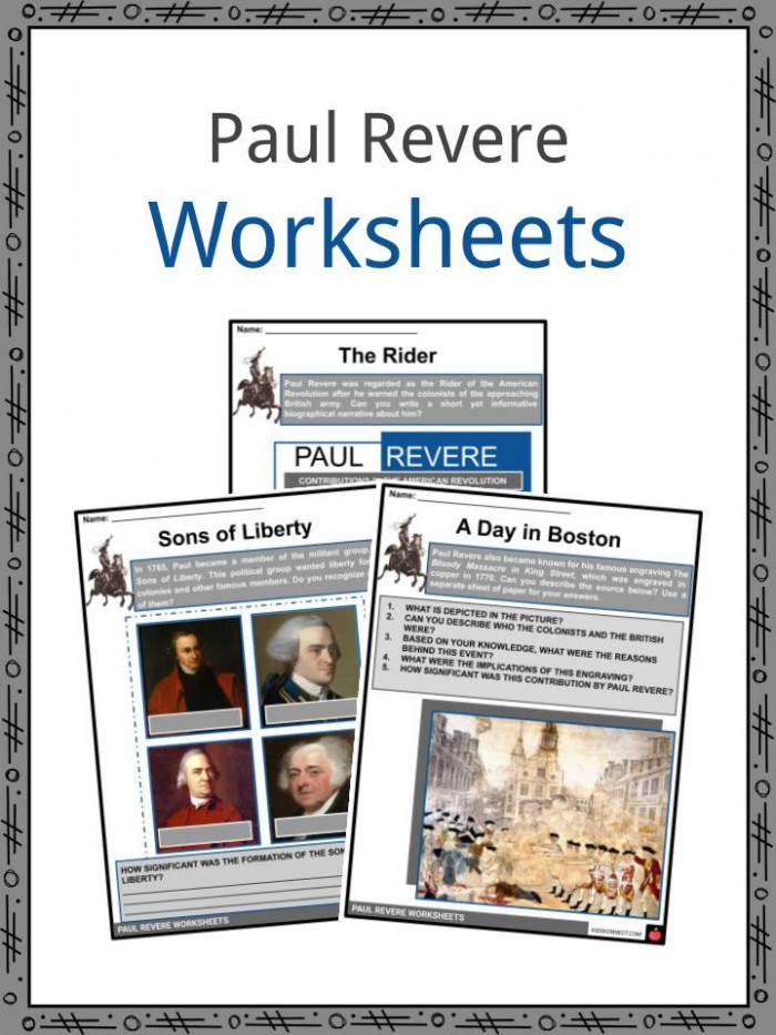 Paul Revere Biography  Facts And Worksheets For Kids