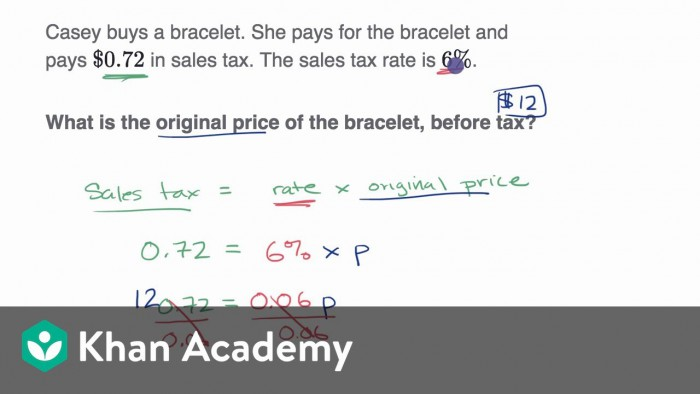 Percent Word Problems Tax And Discount Video