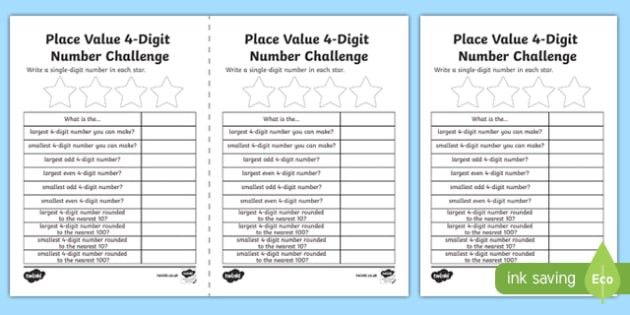 Place Value Number Challenge Worksheets 99Worksheets