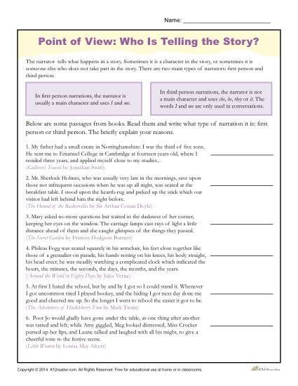 Point Of View Worksheets With Images