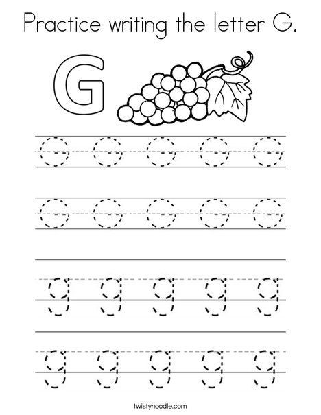 Practice Writing The Letter G Coloring Page