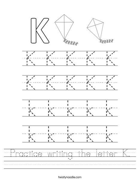 Practice Writing The Letter K Worksheet