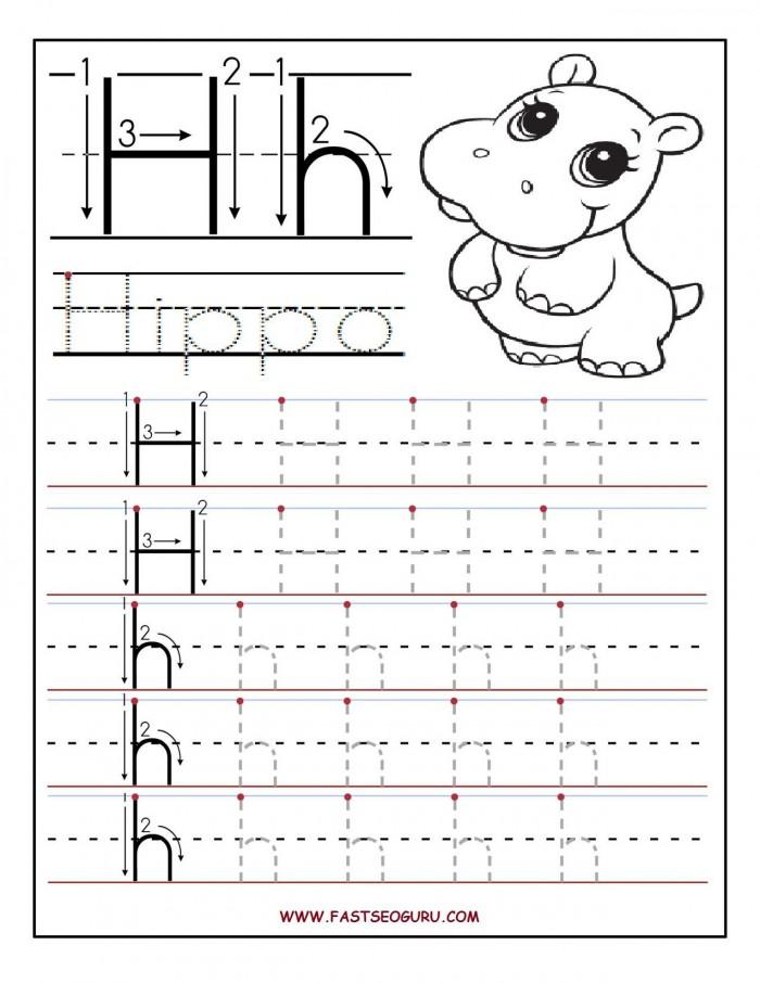 Printable Letter H Tracing Worksheets For Preschooljpg