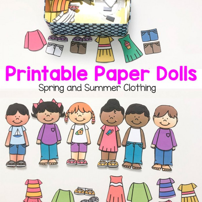 Printable Paper Dolls For Spring  Summer  Winter And Fall