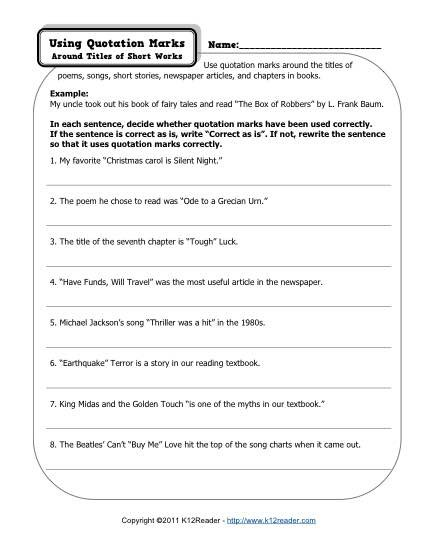 Quotation Marks Free Printable Punctuation Worksheets First Grade