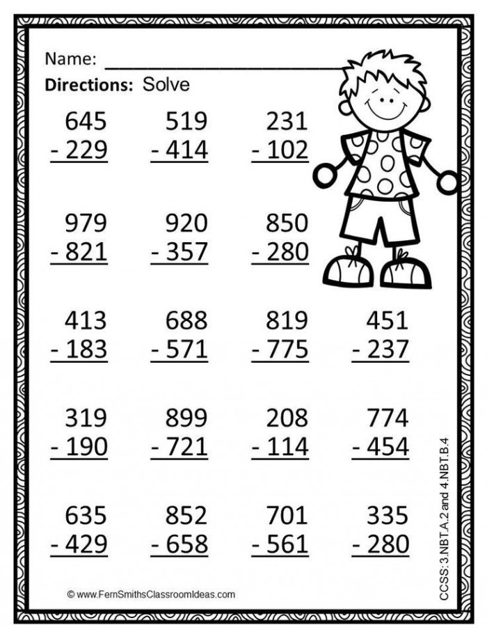 Rd Grade Go Math  Use Place Value To Subtract Color By